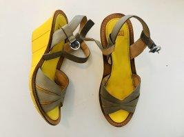 Camper Wedge Sandals yellow-grey
