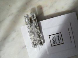 Acetat Haarclip Haarspange länglich mit Silber Foil Flakes 2er Set
