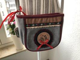 Adelheid Gekruiste tas grijs-rood Wol