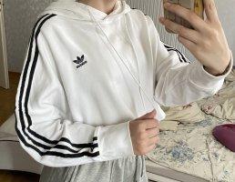 Adidas crop Kapuzenpulli in Weiß