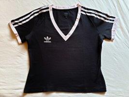 Adidas Originals Camisa con cuello V negro-rosa empolvado