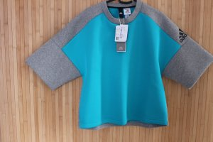 Adidas Pull oversize gris-bleu fluo polyester