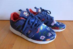 adidas ZX Flux Turnschuhe Sneaker Satin blau rot Libelle Blume Blüte Gr. 38 (38,5)
