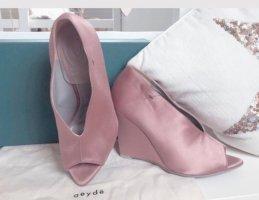 aeyde Tacones con punta abierta color rosa dorado