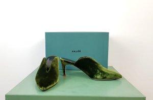 Aeyde Samt Mules Gr. 37 grün olivgrün High Heels Spitz Pantolette Wie neu