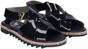 AGL Attilio Giusti Leombruni Sandalen Schuhe Gr. 39,5 aus Lackleder in schwarz