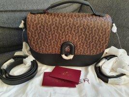 Aigner Camilla Crossbody Umhängetasche schwarz braun gold Tasche Leder Logo