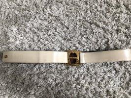 Aigner Cinturón de cuero de imitación crema-color oro