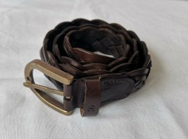 Aigner Braided Belt dark brown-gold-colored leather