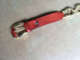 Aigner Cintura di pelle rosso mattone-arancione scuro Pelle