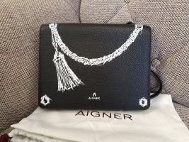 Aigner Ivy Mini Neu Leder Weiß schwarz Crossbody tasche Umhängetasche