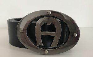 Etienne Aigner Leather Belt black-dark grey leather