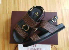 Aigner Strapped Sandals dark brown leather