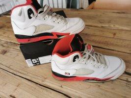 air jordan 5 retro white fire red black gs