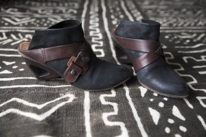 A.S.98 Sandalias de tacón alto negro-marrón-negro Cuero