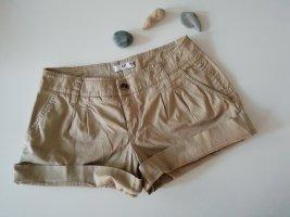 AJC High-Waist-Shorts beige-oatmeal cotton