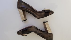 Alba Moda T-Strap Pumps gold-colored-grey brown