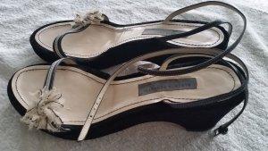 ALBERTA FERRETTI Designer Sandalette Fessel-Riemchen Gr.39 schwarz Samt/Leder