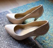 ALDO Lackleder Echtleder Leder Peep Toes Pumps High Heels mit Plateau Nude Rose Gr. 38