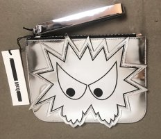 Alexander McQueen Clutch silver-colored-black leather