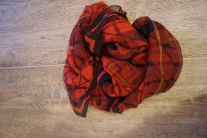 Alexander McQueen Schal / Scarf / Tuch Totenkopf rot karriert tartan 100% Seide Original