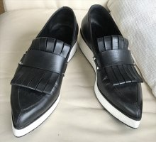 Alexander McQueen Slip-on Shoes black-white leather