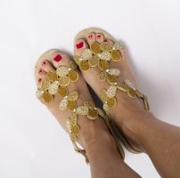 Alma en Pena Strapped Sandals sand brown-gold-colored leather