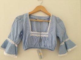Almsach Blouse bavaroise bleu azur coton