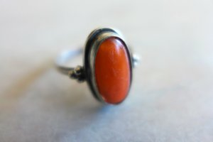 Vintage Srebrny pierścionek srebrny-pomarańczowy