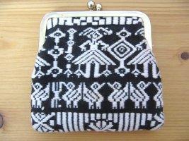 Altes Hippie Portemonnaie Geldbörse Ethno Schwarz Weiß