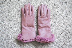 Handschoenen van imitatieleder roze-stoffig roze