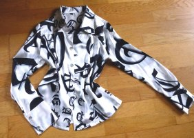 Amal Guessous Silk Blouse white-black silk