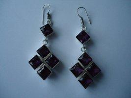 Pendientes de plata color plata-violeta amarronado