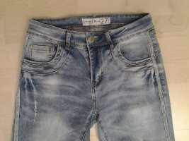 Amisu Stretch Jeans in Gr. 27/30 hellblau mit Glitzernaht