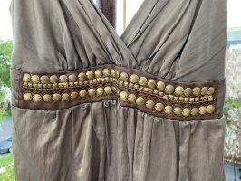 Ana Alcazar Robe à bretelles chameau-bronze satin