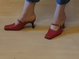 Andrea Conti Heel Pantolettes dark red leather