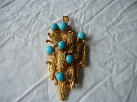 Pendant gold-colored-turquoise