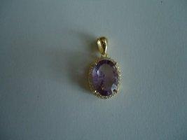 Anhänger silber vergoldet Purple Amethyst