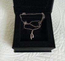 Anhänger Weißgold mit Saphir und 5 Diamanten mit Kette 45 cm