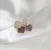 ANKE Accessoires Art Ear stud dark brown-natural white