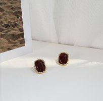 ANKE Accessoires Art Ear stud bordeaux-gold-colored polyacrylic