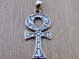 Ankh Ägyptisch Schlussel Kreuz Anhänger Sterling Silber 925 Schmuck