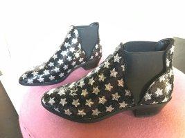 Ankle boots Cowboy Pistol stiefeletten Stars  Pailletten Sterne schwarz Silber 38 chelsea zara Asos