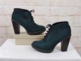 Ankle Boots Schnürstiefel Graceland Größe 41 Dunkelgrün Grün Schnürung Stiefeletten Velours Heels Schuhe Rockabilly