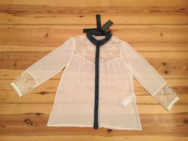 Anna Rita N Transparante blouse wit-donkerblauw Polyester