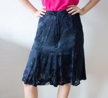 Anne Klein Midi Skirt dark blue silk