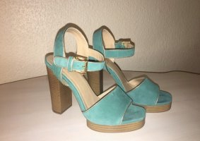 Another A High Heel Sandal lime-green-gold-colored leather