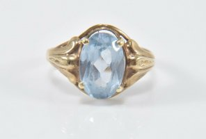 Antik 333 Gold Ring Stein aqua blau 8kt goldring Juwelierstück Goldring