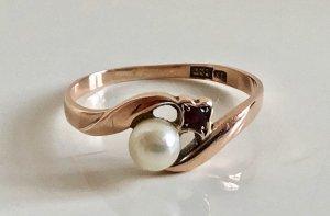 Antik 333 Gold Rosegold 8k Ring Goldring Perle Meisterpunze Juwelierstück