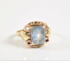 Antik 585er/ 14kt Gold Ring aqua blau Spinell